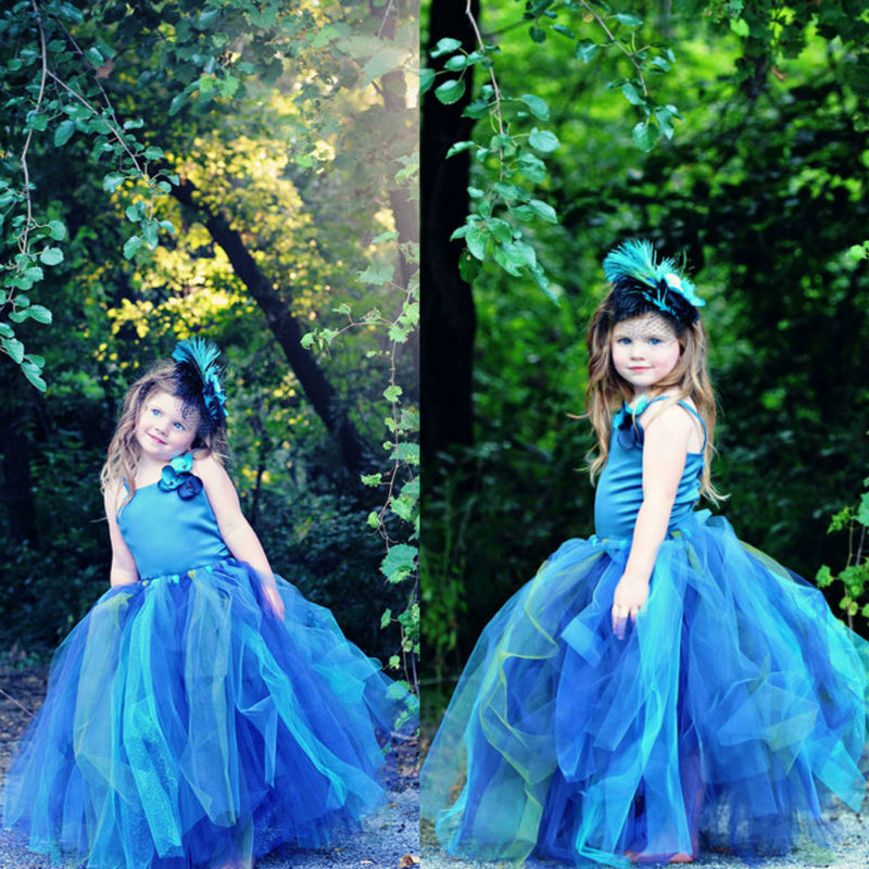 New Princess Elsa Flower Girl Dress Kids Party Dresses for Girls Dress  kids costume  For Birthday Photo Wedding Party Festival 2016 new cheap cute flower girls dress for birthday and festival party princess costume kids children dresses baby girl clothing