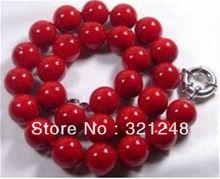 Envío gratis 10mm natural mar rojo coral perlas redondas cadenas collares para las mujeres de alta calidad de la joyería 18 inch MY1405