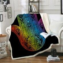 Hamsa mano Sherpa Throw Blanket arcoíris colcha colorida Vintage Palma manta de felpa en el sofá de la cama