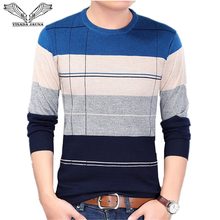 VISADA JAUNA 2017 New Autumn Fashion Casual Mens Sweater O-neck Slim Fit Knitting Sweaters Stripe Plus Size Men's Sweater N5862
