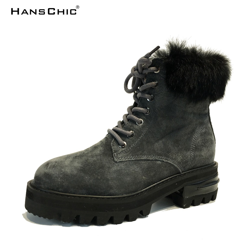 HANSCHIC 2017 New Arrival Winter Gray Vintage Style Real Genuine Leather Ladies Womens Heels Casual Boots Shoes for Female 2254 hanschic 2017 new arrival winter special rivets design black leather ladies women knee high casual boots for female 1036