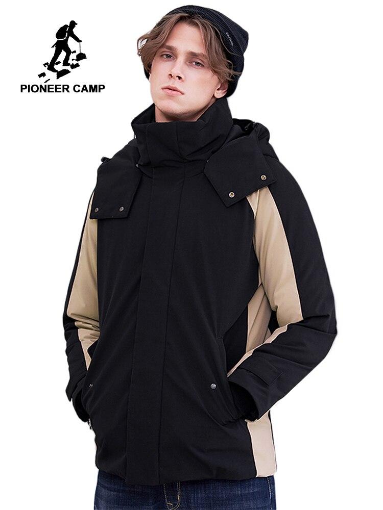 Pioneer camp nouveau hiver doudoune hommes marque vêtements mode patchwork vers le bas parkas pour hommes à capuche veste chaude parkas AYR801404