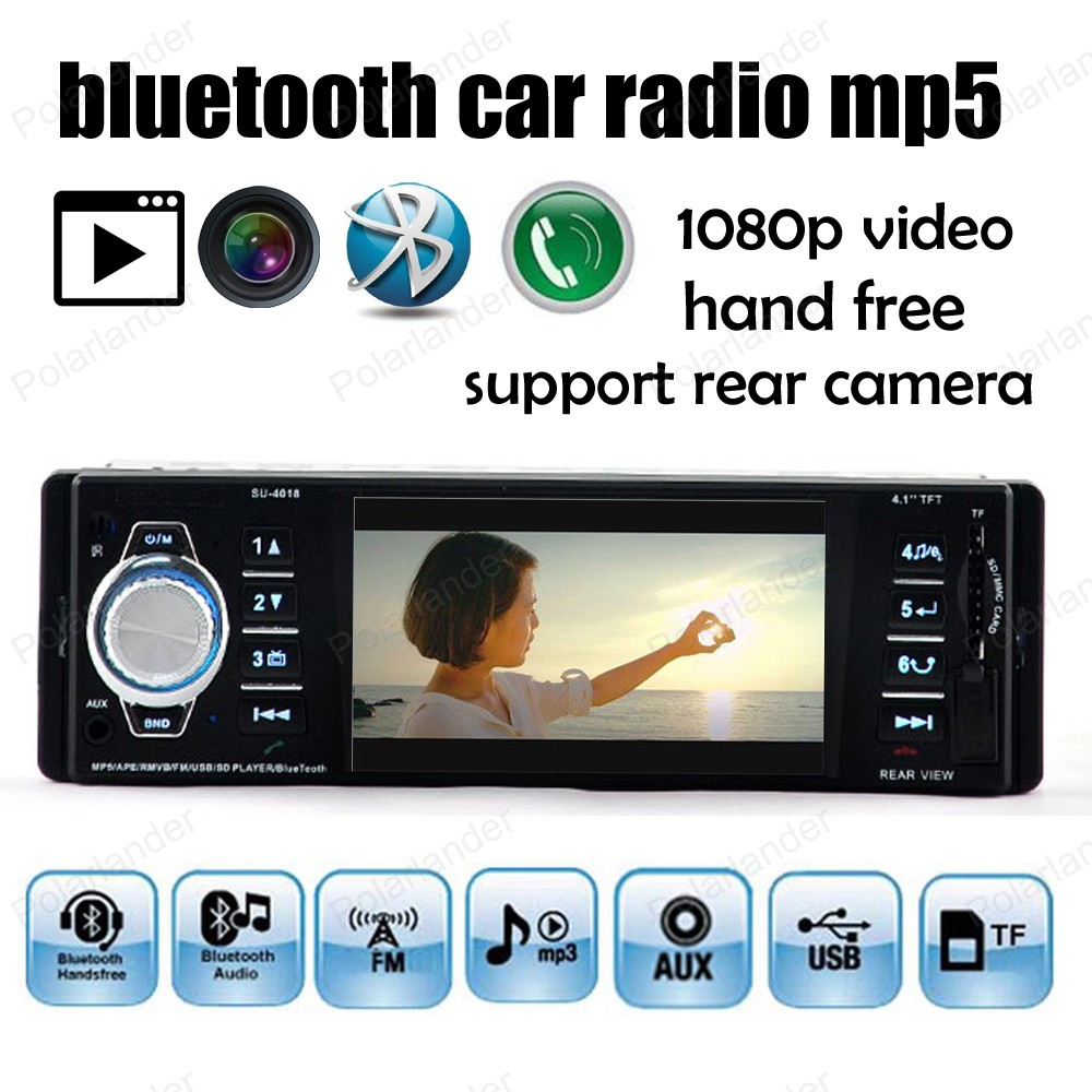 1 din Bluetooth car radio FM /USB / SD / AUX support Rear camera 1080P video stereo 4.1 inch TFT screen mp5 player  car radio mp5 mp4 player stereo fm video bluetooth 2 din 6 6 inch fm for android screen mirroring support rear camera dvr input