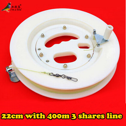 Free Shipping High Quality 22cm ABS Kite White Wheel Big Kite Flying Traction Tools Kite Handle Wheel and 400m Line daisy and the big yellow kite