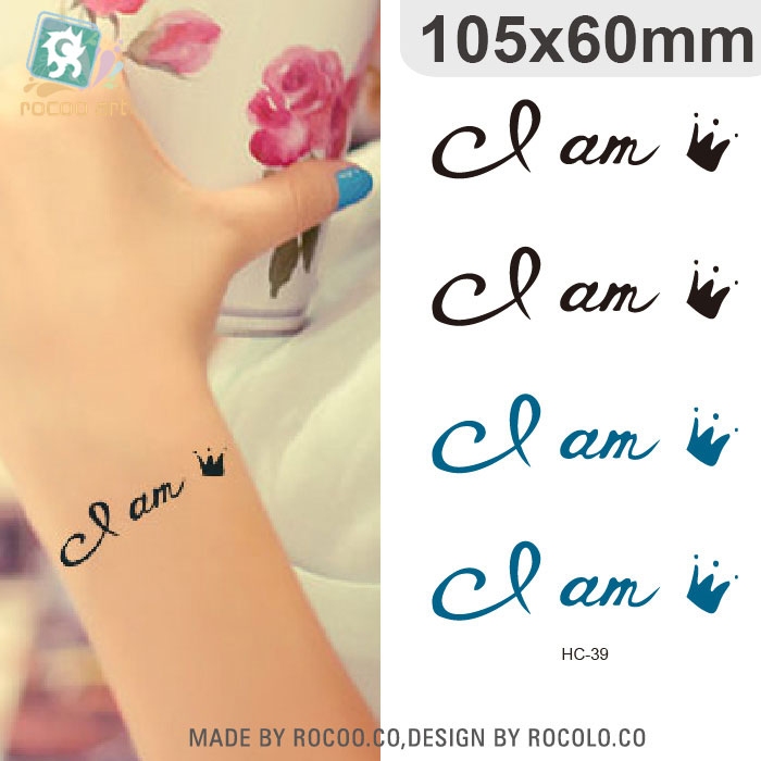HC-39 Waterproof Fake Tattoo Stickers Women Sexy Chest Wrist Bracelets Flash Tattoo Letters Design Temporary Tattoos for Girls