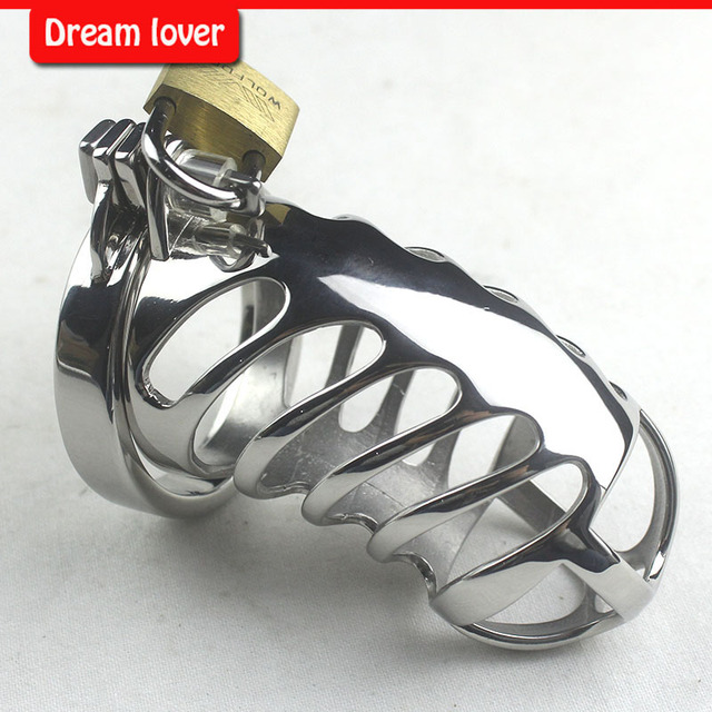 Male chastity cage metal Cock Ring , Designer Male Chastity Devices- Chrome