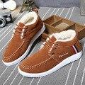 Winter Men Shoes Plush Warm Casual Leather Shoes Fashion Men Flats Lace-up Cotton Shoes Male Ankle Boots Comfortable Shoes 2A
