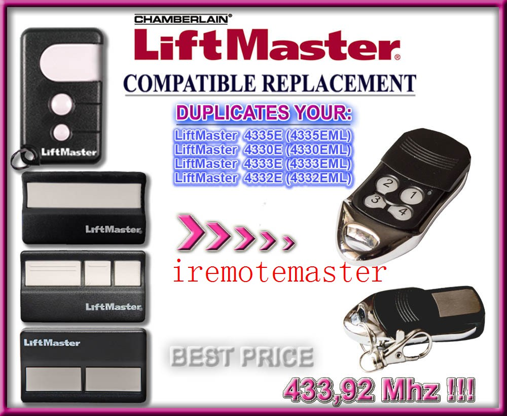 DHL free shipping liftmaster replacement remote 433.92MHZ, rolling code 12v