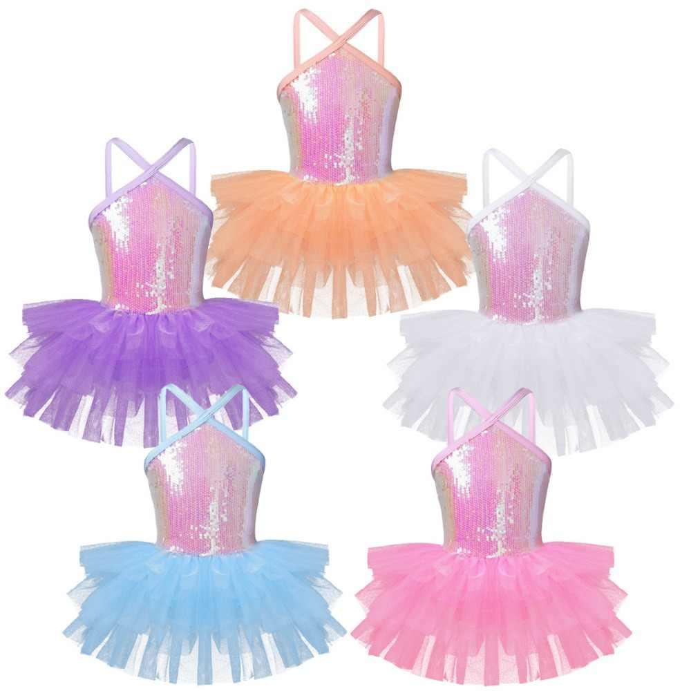 Çocuk Kız Halter Sequins Glitter Bale dans eteği Jimnastik Leotard Tutu Elbise Prenses Dans Giyim Balerin Sahne Kostüm