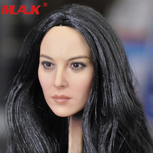 лучшая цена 1/6 scale KUMIK18-31 female head sculpt black hair head carving model toys for 12 inches woman girl action figure body accessory