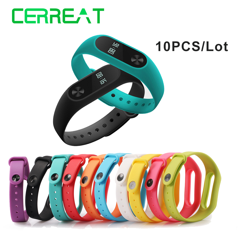 10PCS/LOT Colorful Silicone WristBand Bracelet Wrist Strap Replacement for Miband 2 Xiaomi Mi band 2 Smart Band tearoke colorful silicone strap for xiaomi mi band miband 1 1s bracelet replacement wristband band accessories reemplazo pulsera