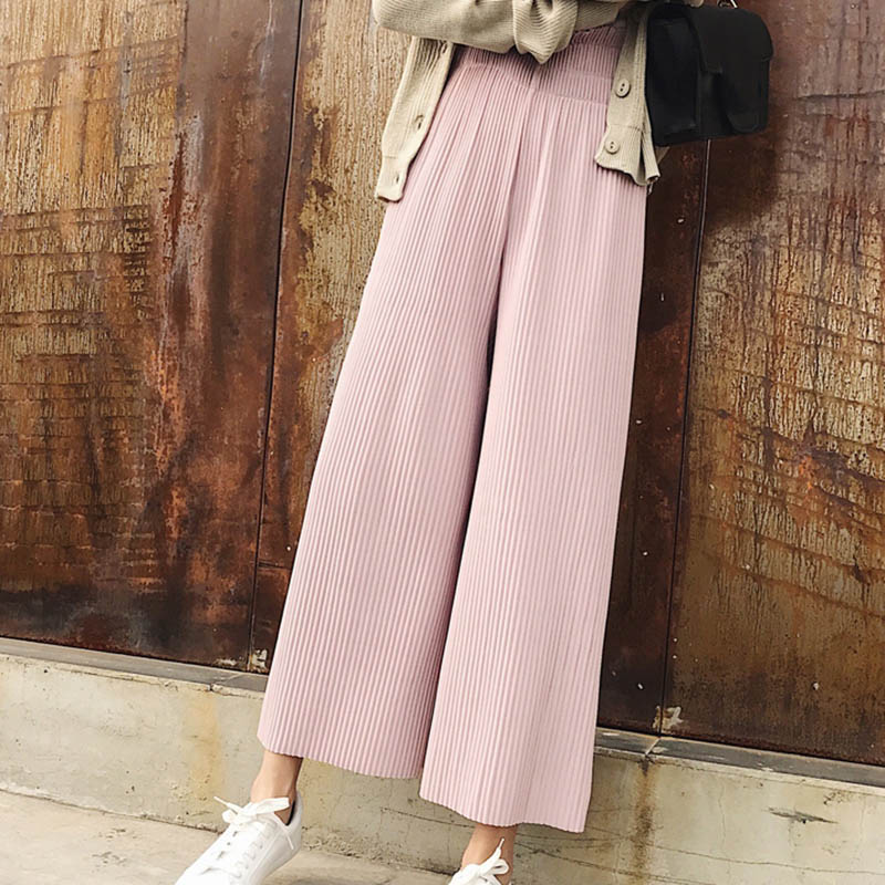 New Arrivals Fashion Women Trousers Loose Solid Color High Waist   Pants   Casual   Wide     Leg     Pants   Chiffon   Pants