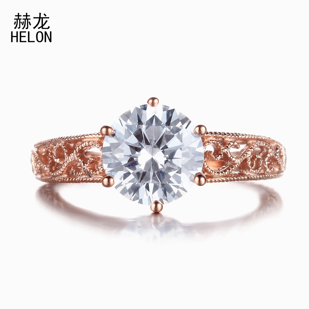 925 Stering Silver 7.5mm Genuine AAA Graded Cubic Zirconia (CZ) Filigree Engagement Wedding Vintage Antique Women Jewelry Ring