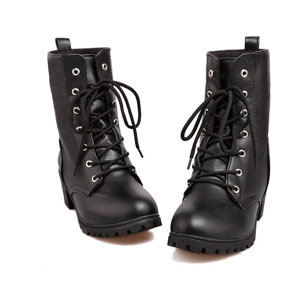 413f8334ca90c6 Talons blanc Noir Taille Lacent Haute 35 Botte forme La Plus Pour Femme  Courte Dames 43 Chaussures Plate ...