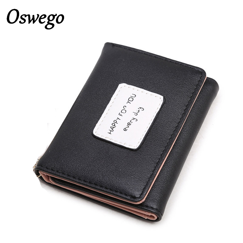 Oswego Three Fold Clutch Wallet PU Hasp Students Wallet Zipper Storage Credit Card Holders Coin Organizer Bags for Women 2018