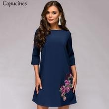 2019 Autumn Womens Fashion Appliques Dress Female O Neck Three Quarter Sleeves Casual Loose Dress Lady Mini Party Dresses