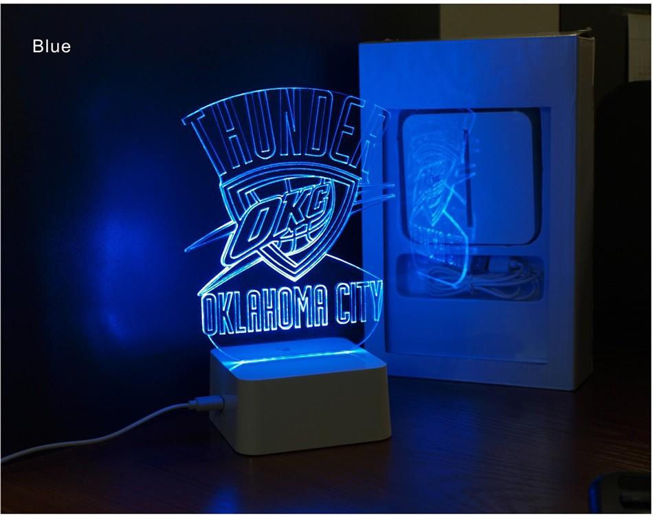 Creative Holiday Gifts for Thunder NBA Desk light Oklahoma City 3D Night Light as Bedroom Lampara (5)