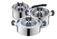 FREE SHIPPING Casserole Pots Set Stainless Steel 6pcs Pots Cooking Pots Set Frypan Milk Pan Visual