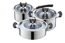 FREE SHIPPING casserole pots set Stainless steel 6pcs pots cooking pots set frypan milk pan visual glass cover  anti-hot handle