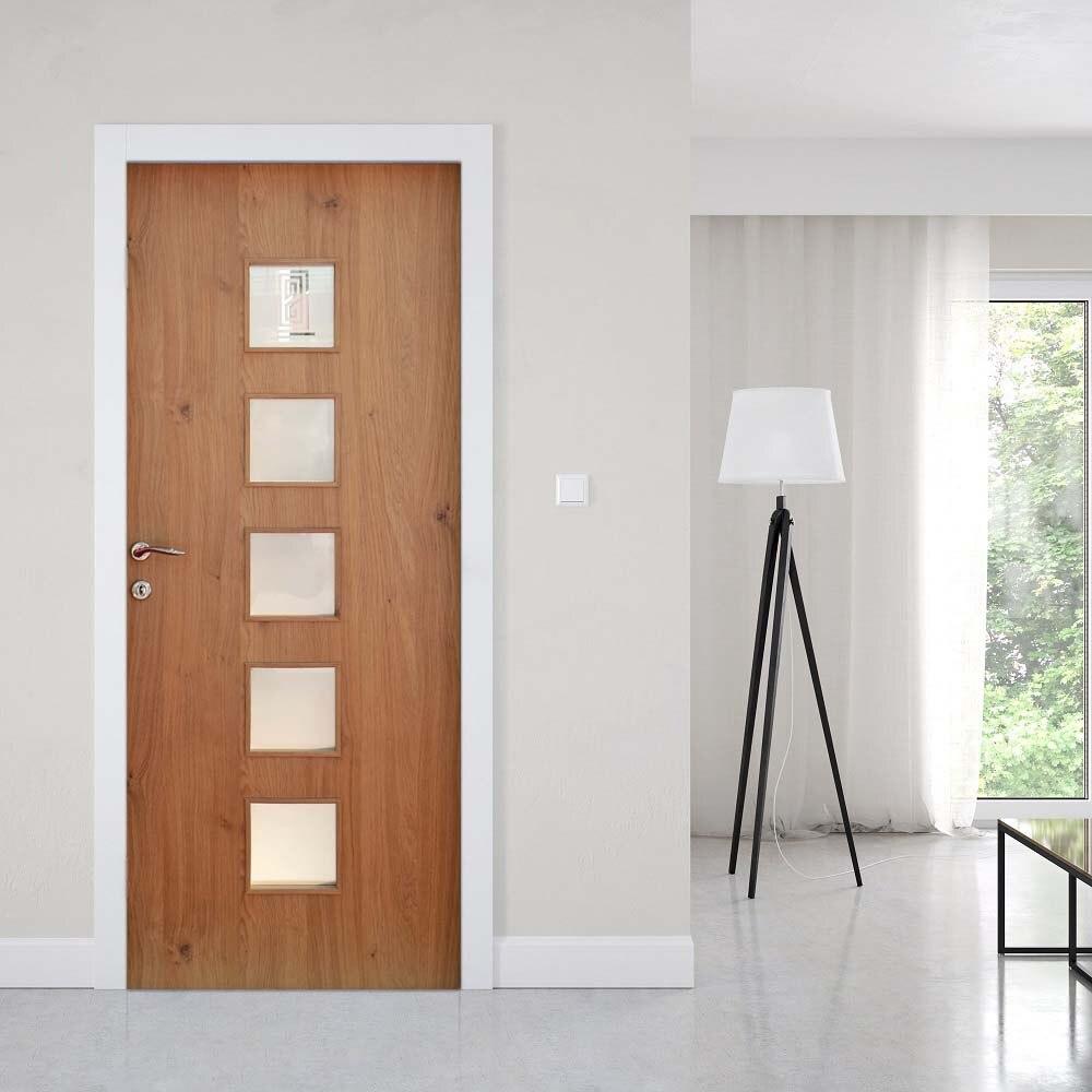 クリエイティブ 3d ドアステッカー木製ガラスゲート Diy 家の装飾壁紙