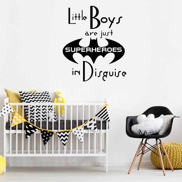little boys are just superheroes wall decals quote nursery vinyl