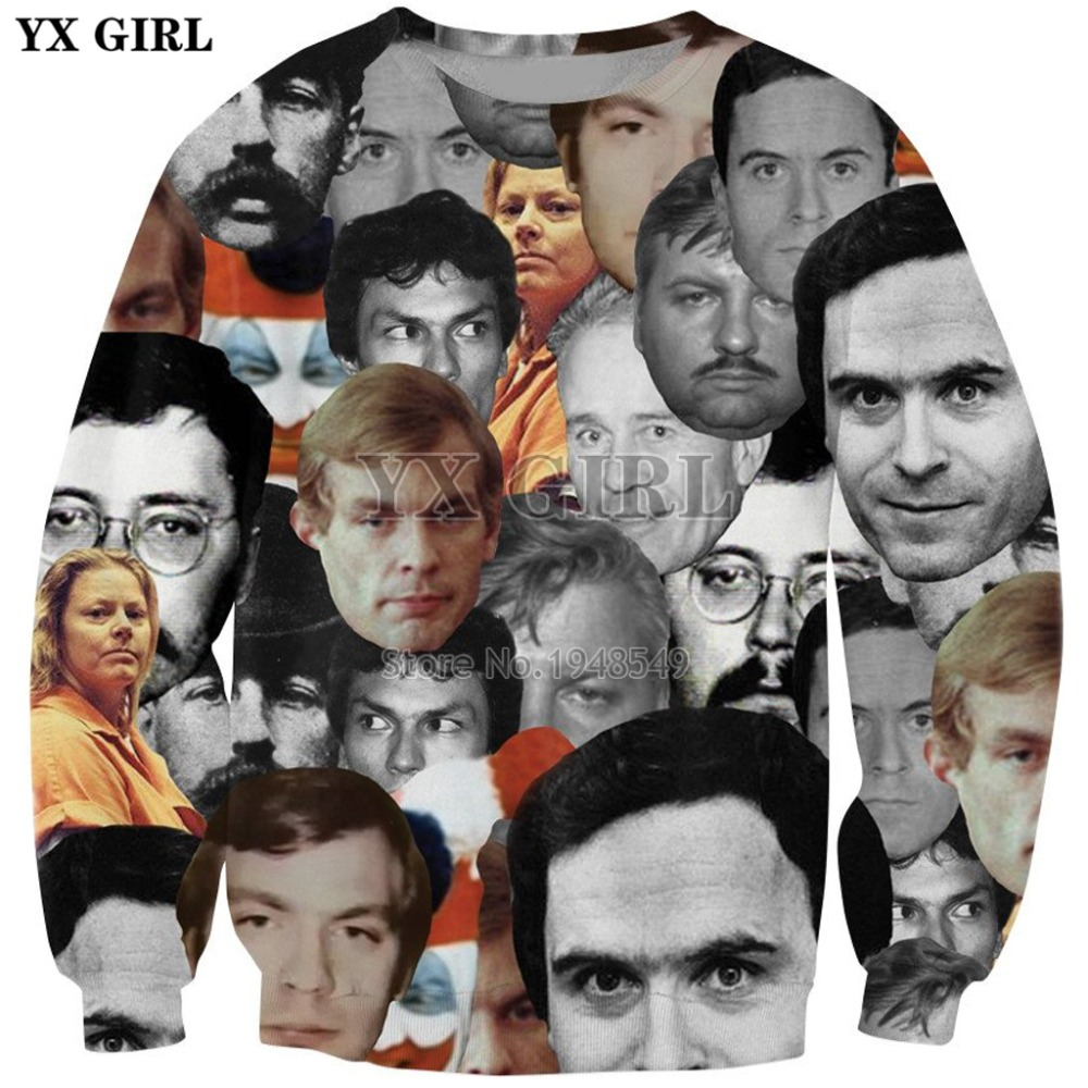 YX GIRL 2019 New Fashion Men Crewneck Sweatshirt Serial Killers Print 3d Sweatshirt Men/Women Casual Pullover Drop Shipping