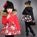 The New 2016 Sweet Child Cotton-padded Jacket Girls Winter Jackets Children Floral Cotton Baby Clothes