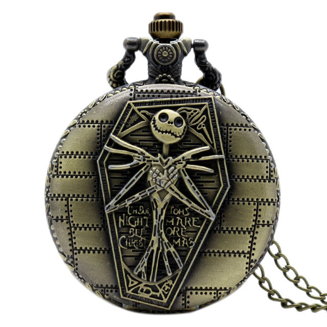 New Arrive Movie Theme Pendant The Nightmare Before Christmas Pocket Watch Bronze Quratz Reloj De Bolsillo Gift