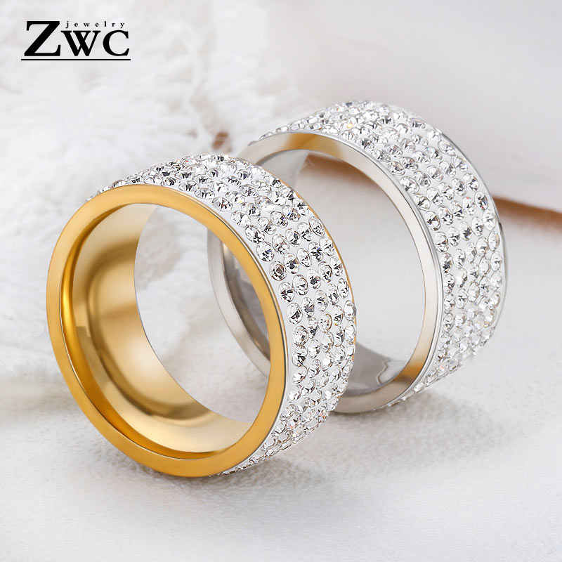 ZWC Fashion Luxury Trendy Rhinestone Rings for Women Men  8mm 5 Row Lines Clear Crystal Wedding Stainless Steel Ring Jewelry