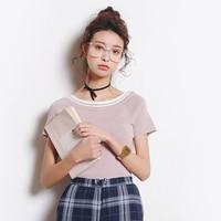 Eal 2017 Summer Short Sleeve Slim T Shirt Thin Short Design Top Viscose Thin Sweater Female