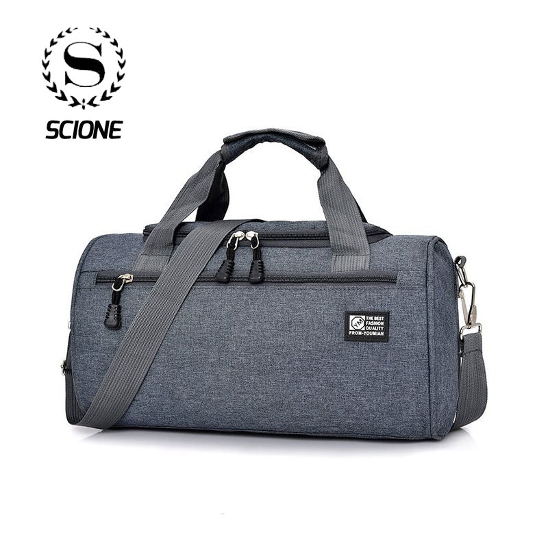 Scione Men Travel Sport Bags Light Luggage Business Cylinder Handbag Women Outdoor Duffel Weekend Crossbody Shoulder Bag Pack