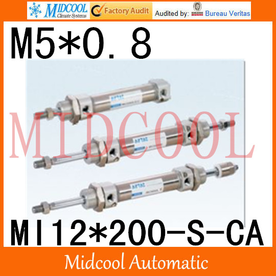 MI Series ISO6432 Stainless Steel Mini Cylinder  MI12*200-S-CA  bore 12mm port M5*0.8MI Series ISO6432 Stainless Steel Mini Cylinder  MI12*200-S-CA  bore 12mm port M5*0.8