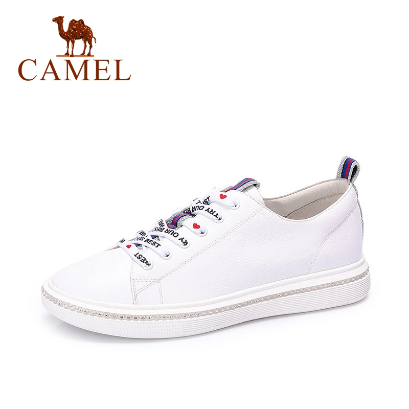 Billede af CAMEL Women New Simple Casual Fashion Genuine Leather White Shoes Woman Sneakers Low Heel Fashion Letter Lace Student Shose