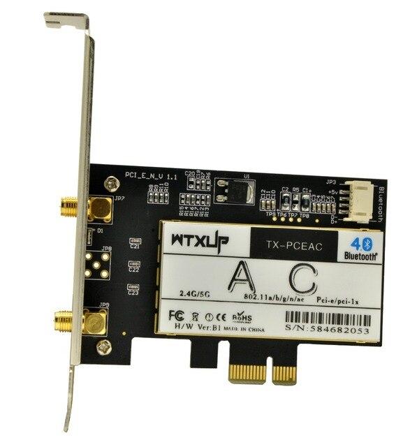 WTXUP 7260AC double bande 7260HMW 867Mbps PCi Express sans fil PCI-E adaptateur WiFi de bureau avec Bluetooth 4.0 BT 4.0 pour Intel 7260