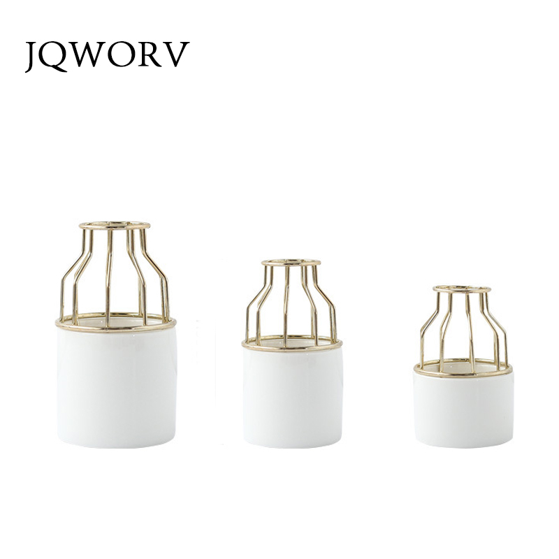 JQWORV Nordic iron small ceramic vase simple iron frame water culture green flower plug flower pot green plant desktop ornaments