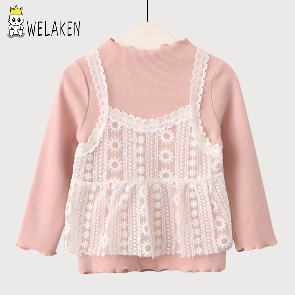 welaken New Kids Clothing For Girls Tshirt Fashion Long Sleeve Lace Patchwork Shirts Thread Girls Tops Children Clothes