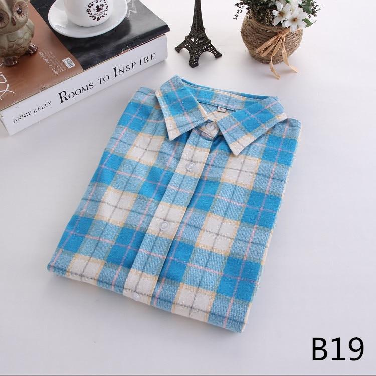 2018 Fashion Plaid Shirt Female College Style Women's Blouses Long Sleeve Flannel Shirt Plus Size Casual Blouses Shirts M-5XL 38