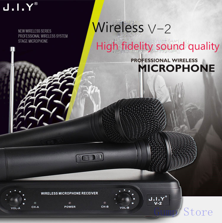 JIY HIFI Wireless Microphones Professional 2 x Handheld Wireless Microphone + Mic Receiver System for disco KTV karaoke computer  professional lapel music instrument microfone double bass microphone lapeal for shure wireless system xlr mini microphones