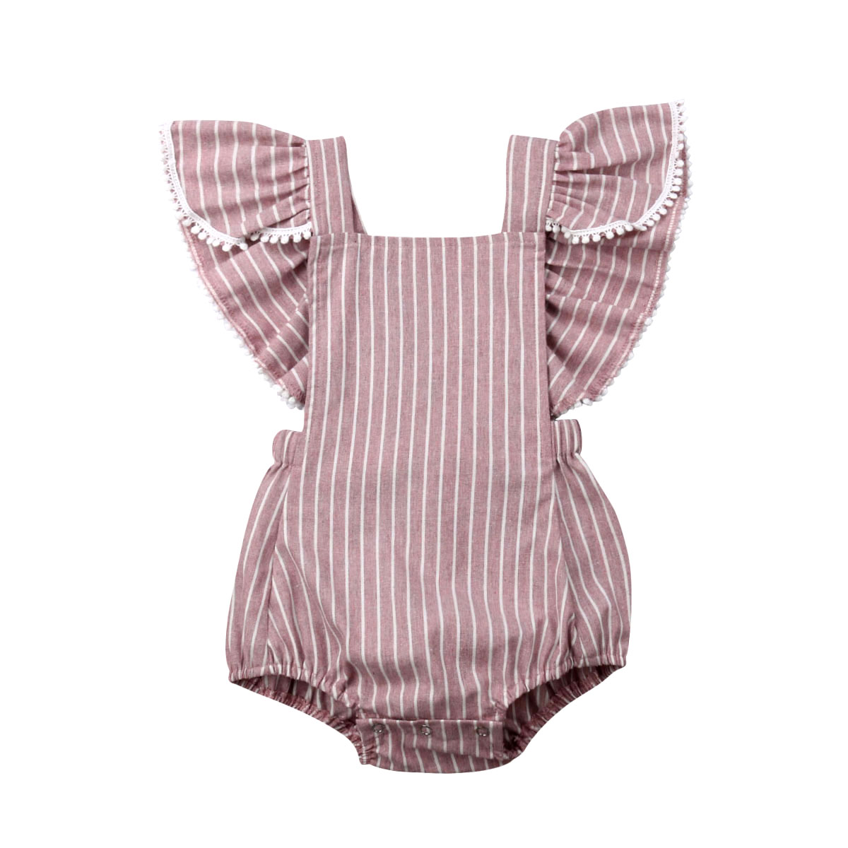 0-24 M Nette Neugeborene Baby Mädchen Rüschen Ärmel Striped Body Overall Overall Outfits Baby Kleidung Sommer