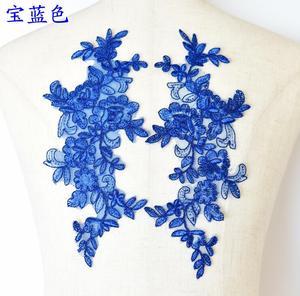 Image 3 - 6 ピース/3 ペア 27*11 センチブリンブリンスパンコール刺繍ブライダルドレス結婚式の装飾縫製レースアップリケトリムクラフト