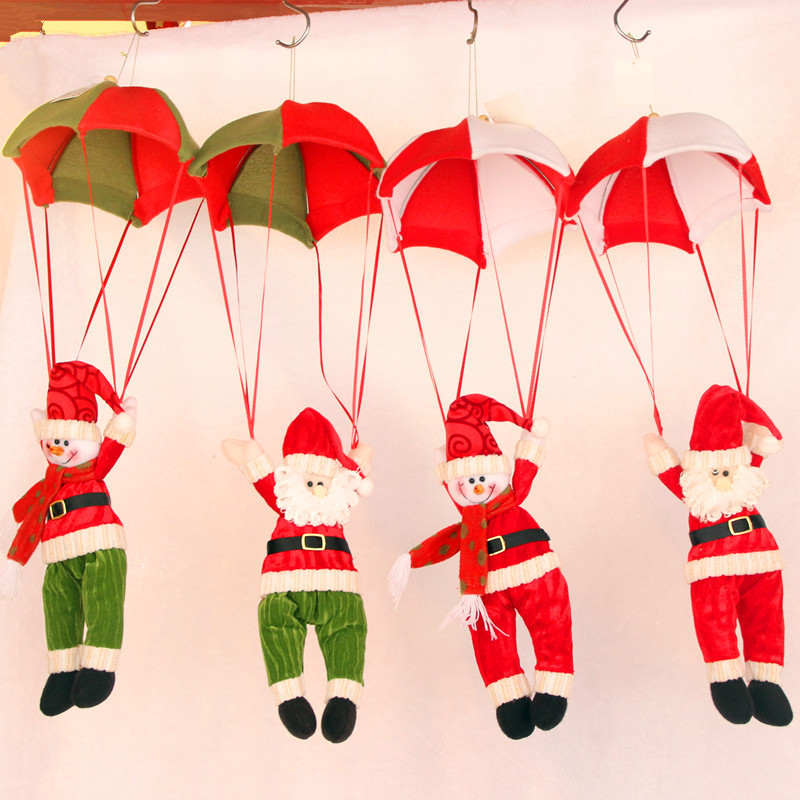 funny children gift parachute santa claus and snowman plush dolls good christmas gift for children