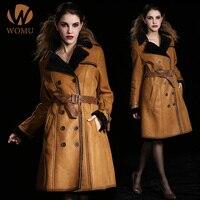 Womens Winter Fashion Morino Sheepskin Double faced Wool Fur Geniune Leather Suede Long Coat & Jacket Double Breasted Black XXXL