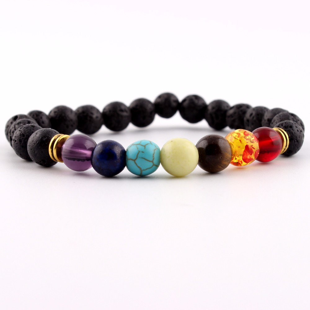 Assorted 8mm Beads Bracelet Natural Stone Volcanic Women Men Black Lava Bracelet Free shipping