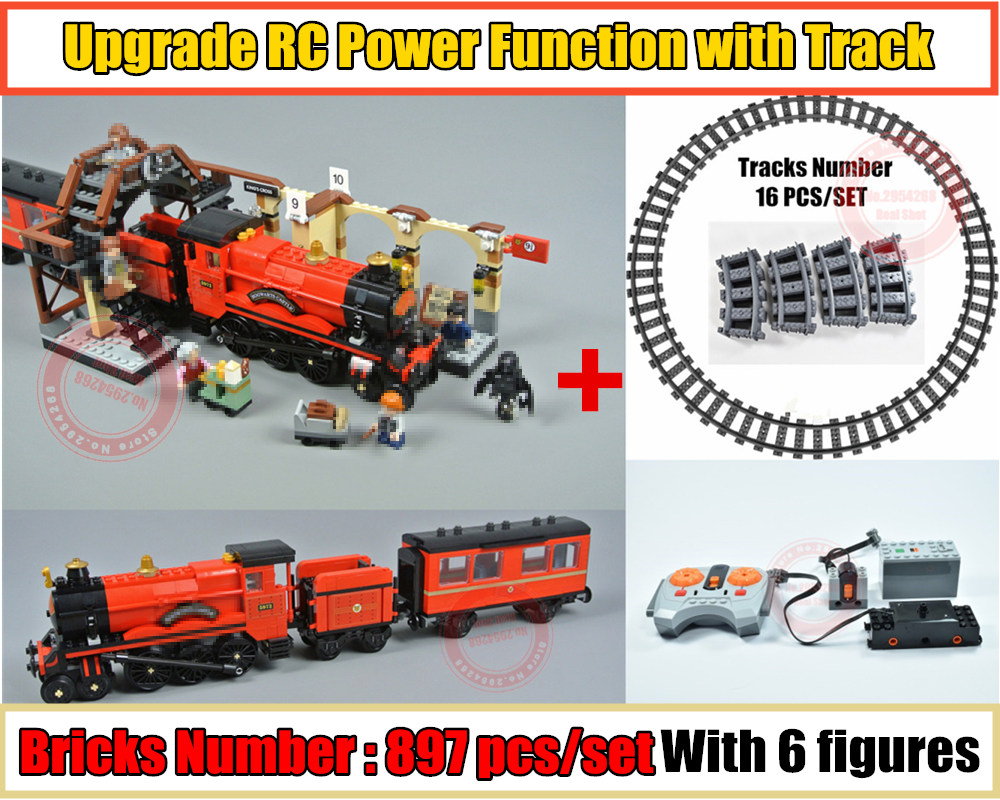 RC Motor power function Hogwarts Express Train station fit technic Harry Potter figures Building Block Brick 75955 Toy image