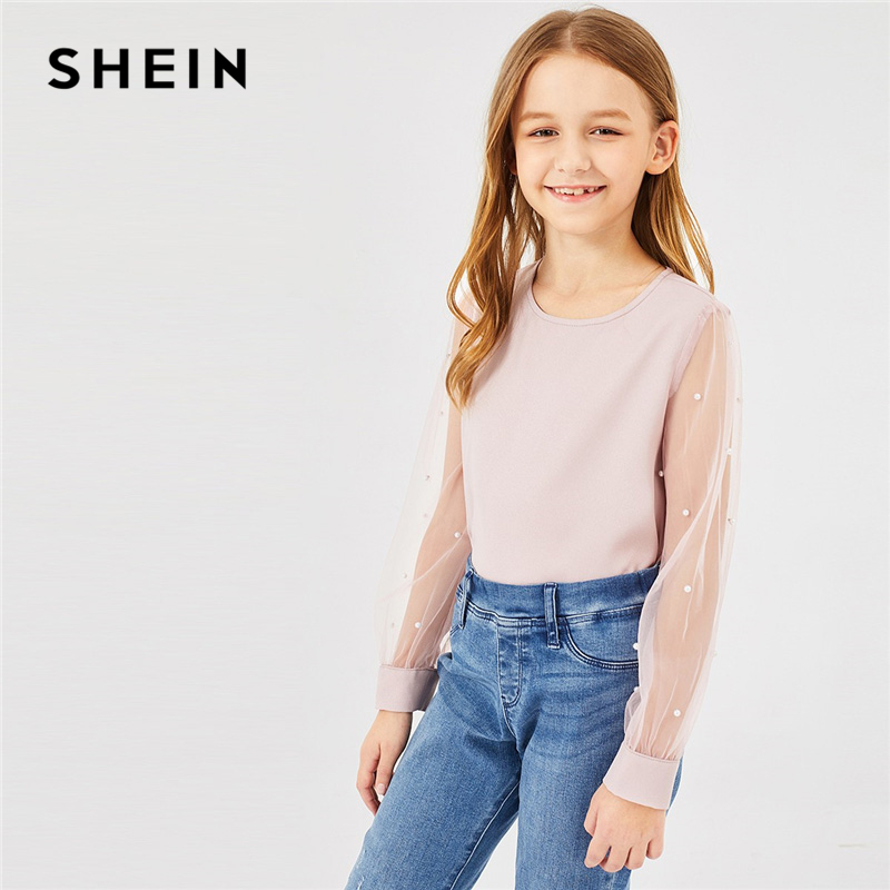 SHEIN Kiddie Pink Mesh Sleeve Beads Sheer Elegant Girls Blouses Tops 2019 Spring Korean Style Cute Tee Shirts Teenager Clothes crop sheer mesh top