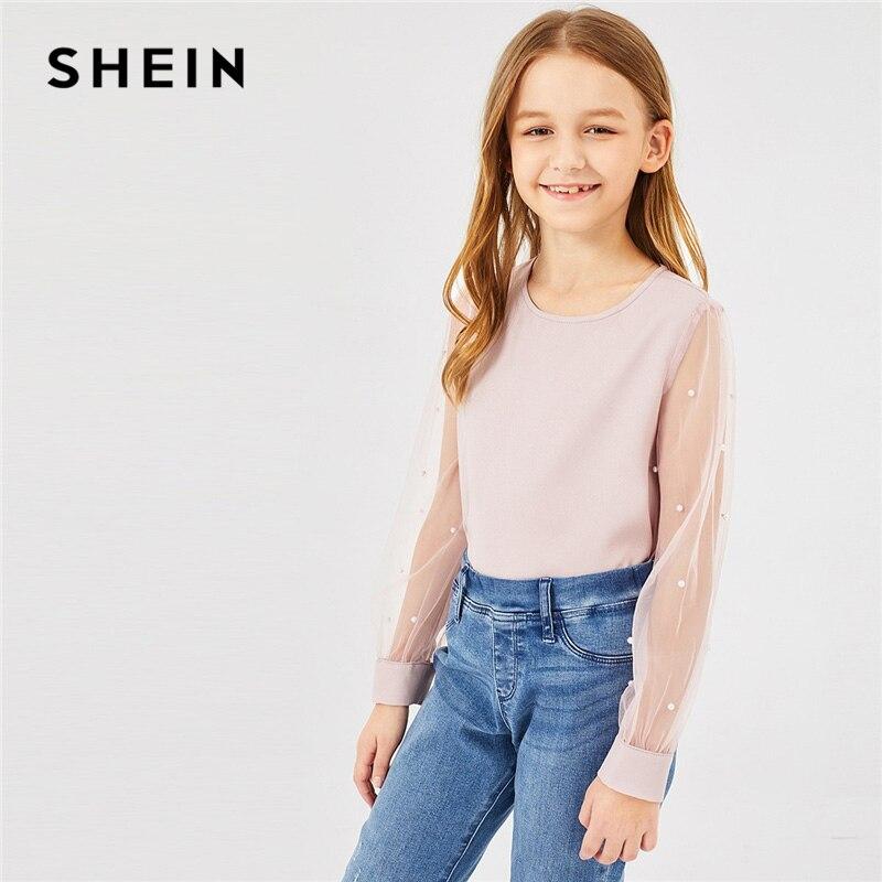 SHEIN Kiddie Pink Mesh Sleeve Beads Sheer Elegant Girls   Blouses   Tops 2019 Spring Korean Style Cute Tee   Shirts   Teenager Clothes