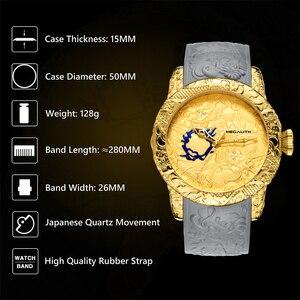 Image 5 - MEGALITH ファッション男性腕時計トップの高級ブランドゴールドドラゴン彫刻腕時計メンズクォーツ時計防水ビッグダイヤルスポーツマン