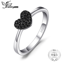 JewelryPalace Fashion 0 14ct Natural Black Spinel Love Heart Rings For Women 100 925 Sterling Silver