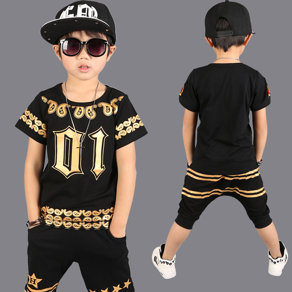 Summer Cool Boys Clothes Suit Letter Print Fashion Style Children Sports Dance Clothing Set T shirt + Haren Pant Costume Outfits family fashion summer tops 2015 clothers short sleeve t shirt stripe navy style shirt clothes for mother dad and children