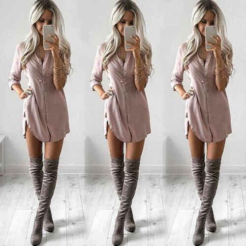 Kadın Uzun Kollu Gömlek Rahat Tam Kollu Katı Gevşek Sonbahar Elbiseler moda üst giyim Mini Kısa Elbise Sundress Ofis Lady S-XL